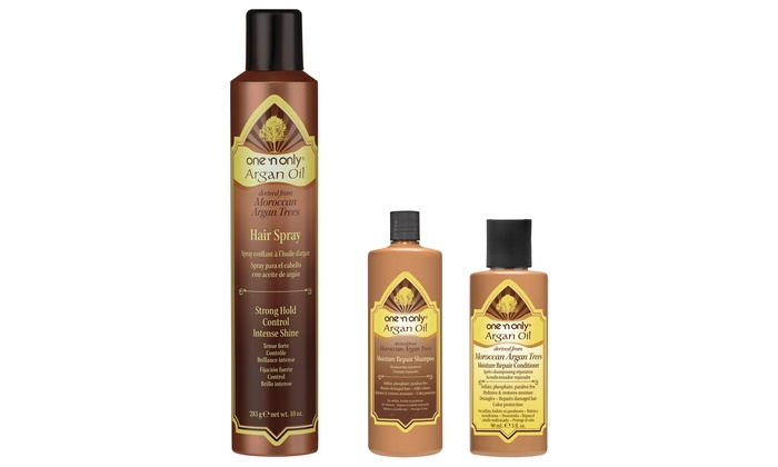 One 'n Only Argan Oil 3-Pack: One 'n Only Argan Oil 3-Pack with Shampoo, Conditioner, and Hairspray