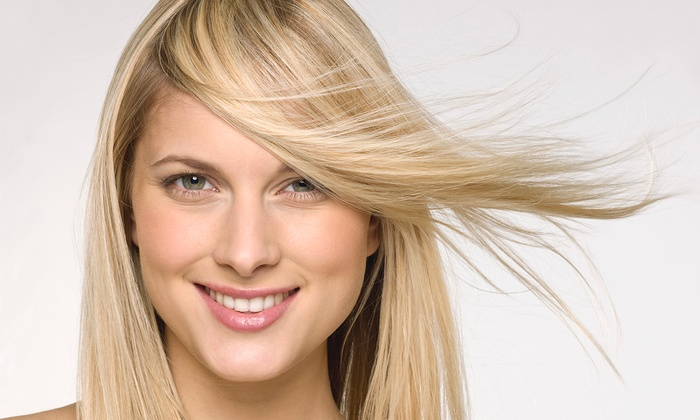 b2 Salon - Multiple Locations: Haircut Package with Optional Partial or Full Highlights, or French or Brazilian Wax at b2 Salon (Up to 64% Off)