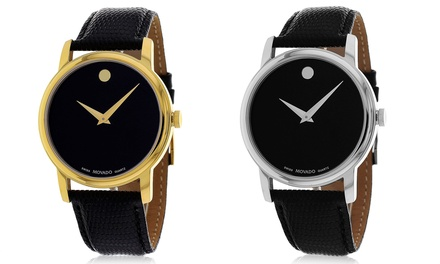 Movado Men's Genuine Leather Strap Watches