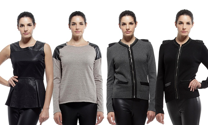 YAL New York Faux-Leather Apparel: YAL New York Tops and Dresses with Faux-Leather Accents. Multiple Styles from $32.99—$37.99. Free Shipping and Returns.