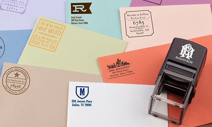 Mason Row: Personalized Self-Inking Stamper with Additional Color Cartridge or Three Designs from Mason Row (Up to 50% Off)