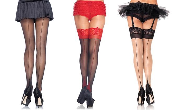 cfcde15c1e1 Leg Avenue Women s Cuban Heel Back-Seam Hosiery. Plus Sizes Available.