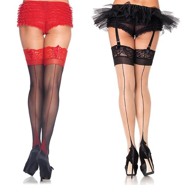 e3f173238be Leg Avenue Women s Cuban Heel Back-Seam Hosiery. Plus Sizes Available.