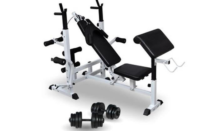 kit halt res 15 kg ou 30 kg et banc de musculation groupon shopping. Black Bedroom Furniture Sets. Home Design Ideas