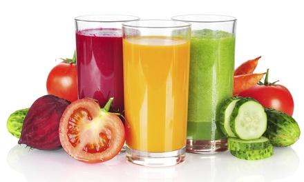 $36 for Level 1 Juice or Level 2 Veggie Detox Cleanse, Green-T-Fusion Fat-Burning Tea from A Choice for Life ($80 Value)