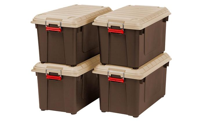 Set of 4 Heavy-Duty Weatherproof 21.8Gal Storage ...