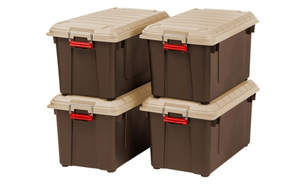 Set of 4 Heavy-Duty Weatherproof 21.8Gal Storage Containers