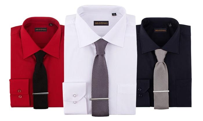 Men 39 S Dress Shirt Set 3 Piece Groupon Goods