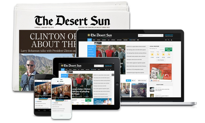 """""""Desert Sun"""": 26 or 52-Week Subscription with Sunday Delivery, 52-Week Digital Subscription to The Desert Sun (Up to 81% Off)"""