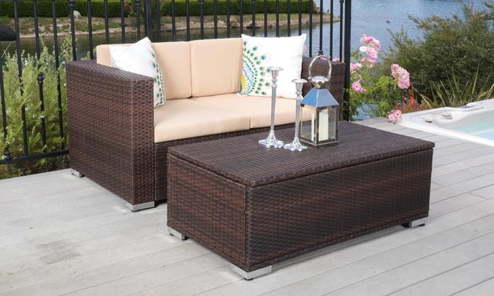 Outstanding Outdoor Loveseat And Ottoman Set Groupon Goods Creativecarmelina Interior Chair Design Creativecarmelinacom