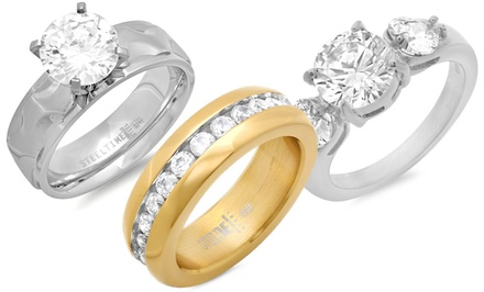 Cubic Zirconia Wedding Bands in Stainless Steel from $19.99–$23.99