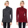 Women's Solid Ribbed Stretchy Turtleneck Sweater