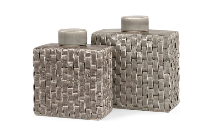 2 Imax Sophie Woven Ceramic Canisters: Imax Set of 2 Sophie Woven Ceramic Canisters | Brought to You by ideel