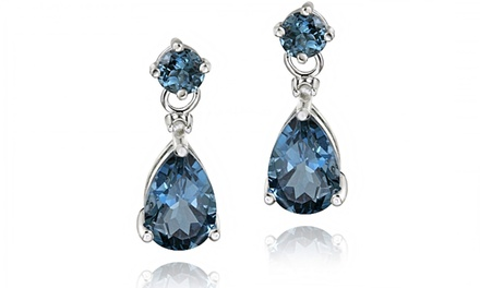 3.60 CTTW London Blue Topaz and Diamond Teardrop Earrings