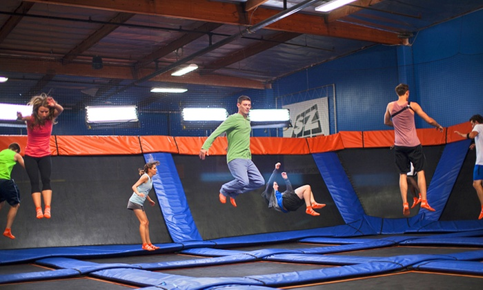Sky Zone - Skyzone Wallingford: Two 60-Minute Jump Passes with Skysocks at Sky Zone (41% Off). Two Options Available.