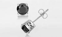 GROUPON: 1.50 CTTW Black Diamond Stud Earrings - By Femme Luxe 1.5CTW Black Diamond Stud Earrings