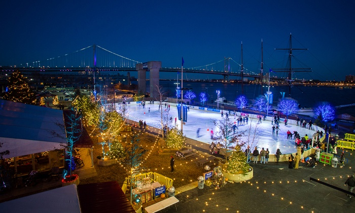 Blue Cross RiverRink Winterfest - Delaware River Waterfront: Ice Skating with Rental Skates for Two or Four at Blue Cross RiverRink Winterfest (Half Off). Four Options Available.