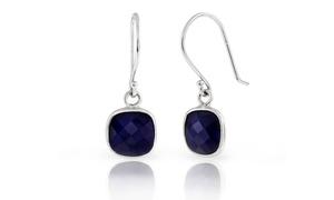 3.00 Ctw Genuine Blue Cushion-cut Sapphire Dangle Earrings In Sterling Silver