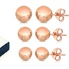 14K Solid Rose Gold Ball Stud Earrings (3-Pack)