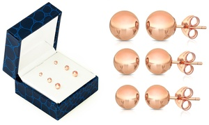 14K Solid Rose Gold Ball Stud Earrings with Gift Box (3 Pairs)