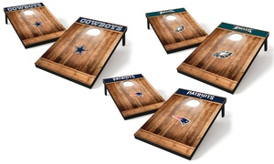 NFL 2'x3' Brown Wood Tailgate Toss Cornhole Game Set (10-Piece)