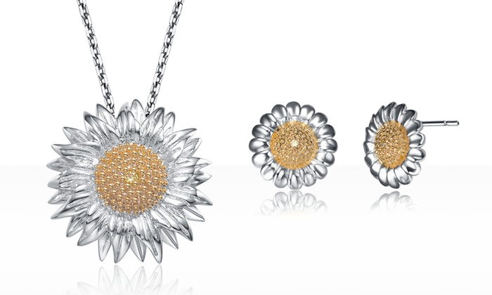 Sterling Silver Sunflower Necklace or Earrings: Sterling Silver Sunflower Necklace or Earrings