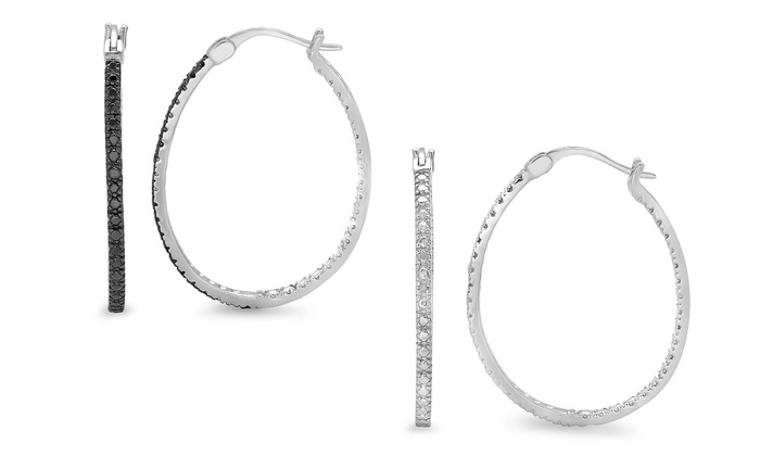 Black Or White Diamond Accent Hoop Earrings