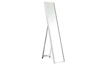 מראה קריסטלית עם מסגרת בגוון לבן מבריק, הכוללת מתקן העמדה ייעודי מבית HOME DECOR