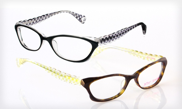 Gone Gingham Frames: $39 for Gone Gingham Optical Frames by Betsey Johnson ($195 List Price). Two Colors Available.