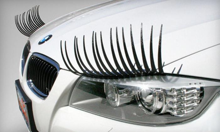 CarLashes: Black or Pink Headlight Eyelashes and Crystal Headlight Eyeliners from CarLashes (52% Off)
