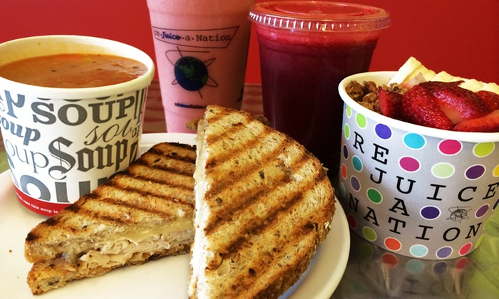 re Juice a Nation - Multiple Locations: $15 for 3 Groupons, Each Good for $10 worth of Smoothies, Organic Juices, Acai Power Bowls, and Soups