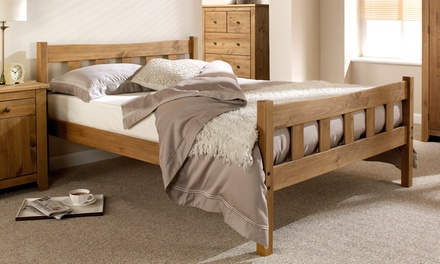 handcrafted wooden bedframe