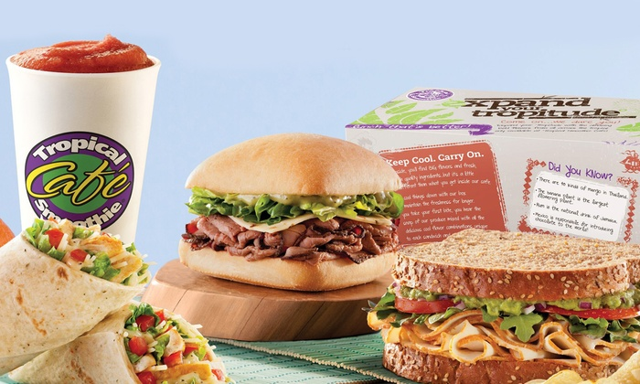 Tropical Smoothie - Tropical Smoothie: Combo Meals for Two or Punch Card for Five Regular Smoothies with One Boost at Tropical Smoothie (Up to 42% Off)