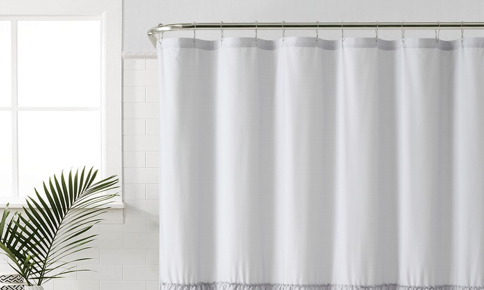 Ruffle Microfiber Shower Curtain