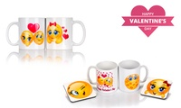 Personalised Valentine's Day Twin White Mug Set from R89 with Optional Coasters (Up to 44% Off)