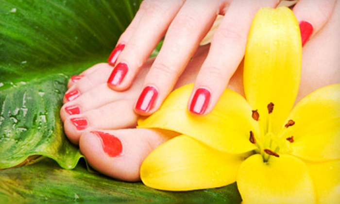 Safety Nails Spa - Lakeland: $35 for a Shellac-Mani-Pedi Package with a Hot-Stone Foot Massage and Wine at Safety Nails Spa in Lakeland ($75 Value)