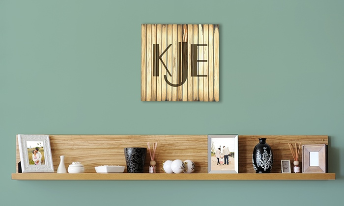 "United Sign Depot: One Custom 11.5""x11.5"", 15""x15"", or 17""x17"" Wooden Monogram Plaque from United Sign Depot (Up to 54% Off)"