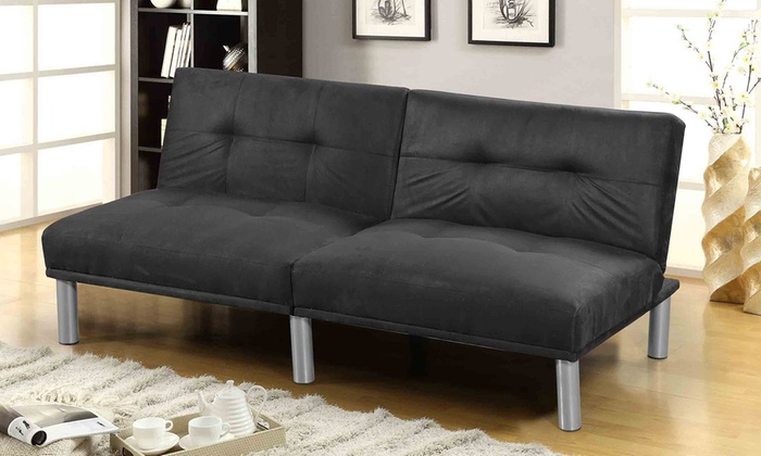 Detroit faux leather sofa bed groupon goods for Sofa bed groupon