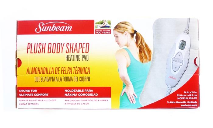 sunbeam plush body shaped heating pad with digital lcd controller