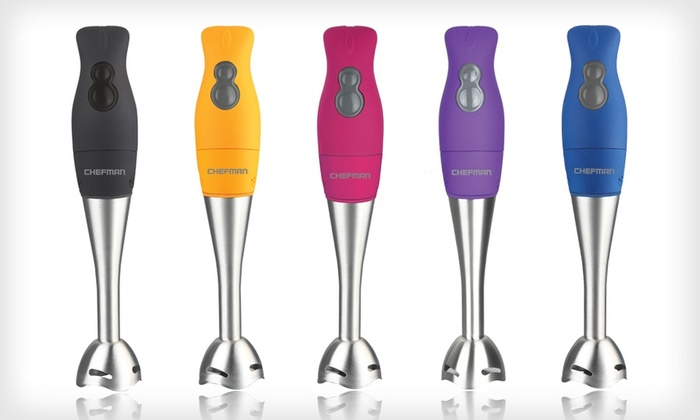 Chefman Rubberized Handheld Blender: Chefman Rubberized Handheld Blender in Black, Blue, Orange, Purple, or Pink. Free Shipping and Returns.