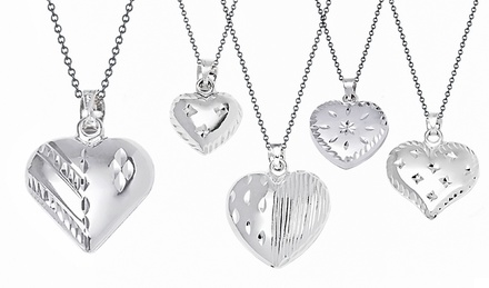 Sterling Silver Diamond-Cut Puff Heart Pendant Necklace