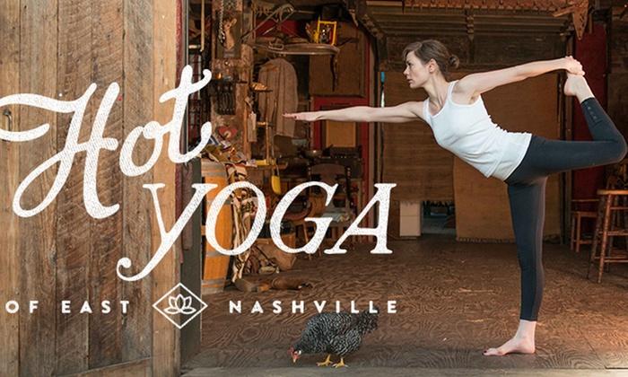 Hot Yoga of East Nashville - Nashville-Davidson metropolitan government (balance): 20 Hot Yoga Classes or One Month of Unlimited Hot Yoga Classes at Hot Yoga of East Nashville (Up to 75% Off)