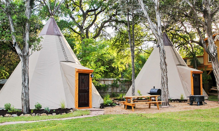 Reservation on the Guadalupe - New Braunfels, TX: 2-Night Stay for Six in a Two-Queen Tipi at Reservation on the Guadalupe in New Braunfels, TX. Combine Up to 4 Nights.