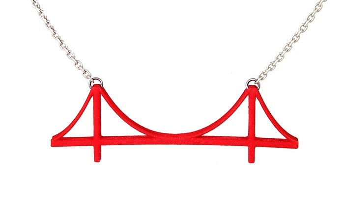 3D-Printed Golden Gate Necklace: 3D-Printed Golden Gate Bridge Necklace