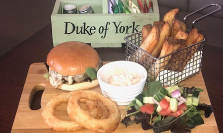 TwoCourse Meal with Optional Wine or Beer for Two or Four at The Duke of York
