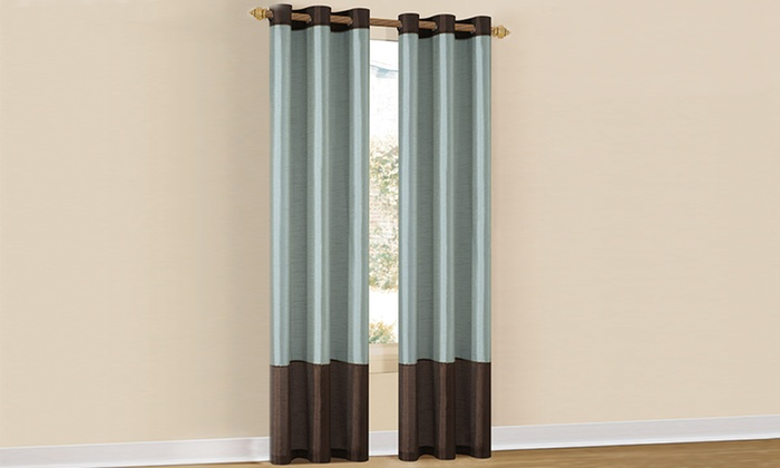 """80""""x84"""" Two-Tone Faux-Silk Grommet Panels: Pair of 80""""x84"""" Two-Tone Faux-Silk Grommet Panels. Multiple Colors Available. Free Shipping and Returns."""