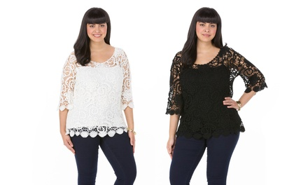 Sociology Women's Plus-Size Scallop-Hem Crocheted Top with Cami | Groupon Exclusive