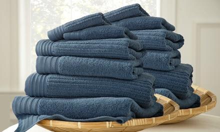 Quick-Dry 12-Piece Jacquard 100% Cotton Towel Set