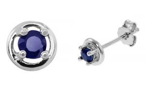 Sapphire Gemstone Stud Earrings In Sterling Silver