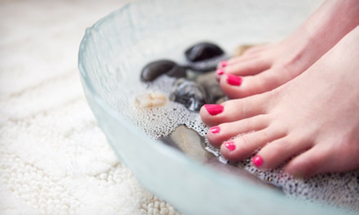 Pamper Nails - Shawnee: One or Three Shellac Polish Changes or Spa Pedicures at Pamper Nails (Up to 58% Off)